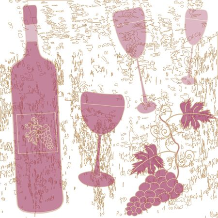 Sketch with bottle, wineglasses and vine Vector