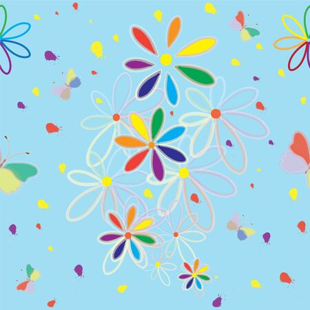 Seamless pattern with rainbow abstract flowers, butterfly and splash Stock Vector - 9226341