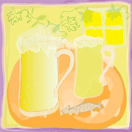 beerhouse: Grunge background with glass of beer Illustration