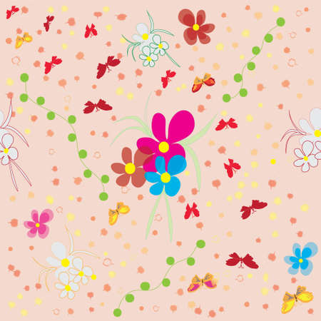 Seamless pattern with flowers and butterflies Stock Vector - 9302418