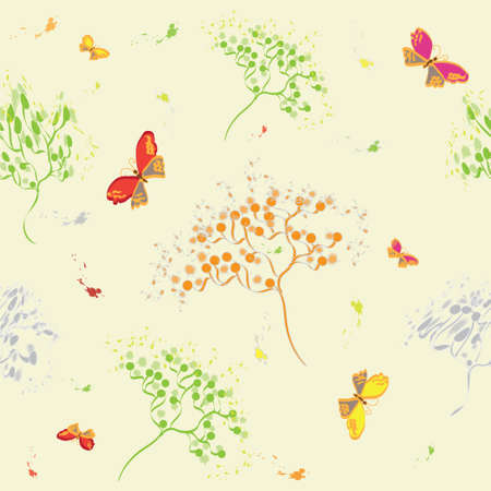 Seamless pattern with abstract dill, butterflies and birds Stock Vector - 9302421