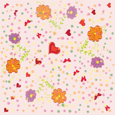 Seamless floral pattern with hearts and butterflies Stock Vector - 9302419