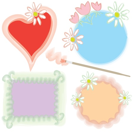Doodle watercolor frames with flowers and brush Stock Vector - 9302420
