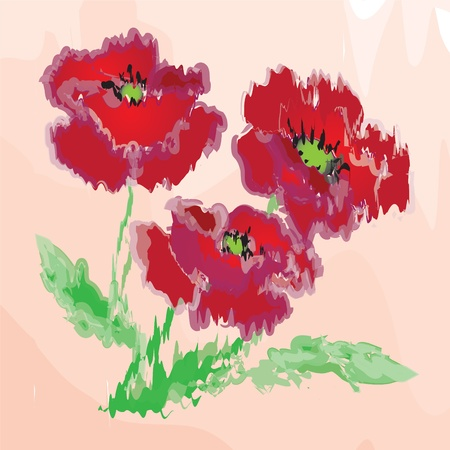 Grunge watercolor poppies Vector