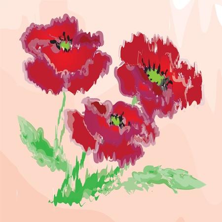 Grunge watercolor poppies Vector