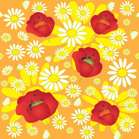 Seamless pattern with chamomile and poppies Stock Vector - 9302424