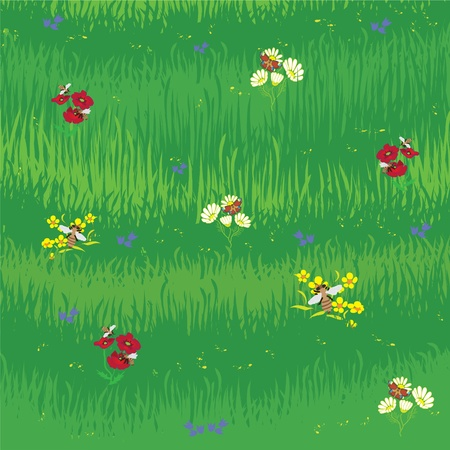 Grass background with flowers, bees and butterfly Stock Vector - 9317588
