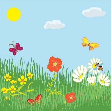 Cartoon summer landscape with grass, flowers, butterflies, sky and sun