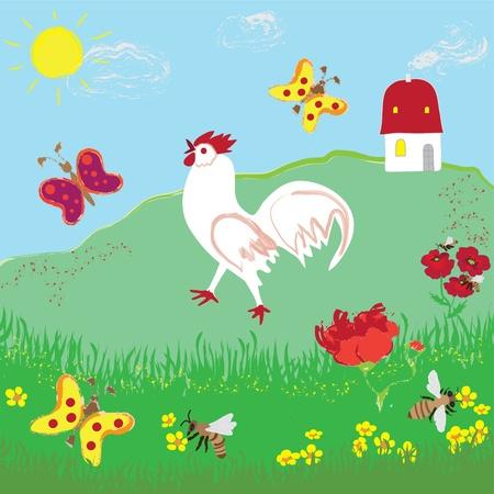 Cartoon rural landscape with grass, flowers, butterflies, cock, house, sky and sun Vector