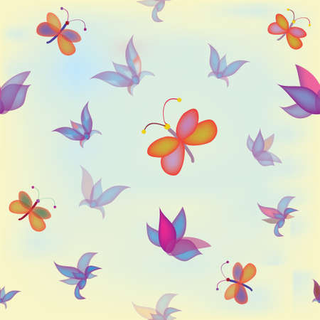Seamless pattern with abstract colorful flowers and butterflies Stock Vector - 9355534