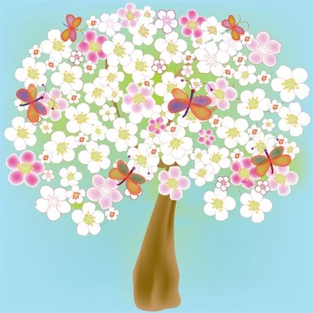Arbre de printemps florissant cartoon avec papillons Banque d'images - 9413622