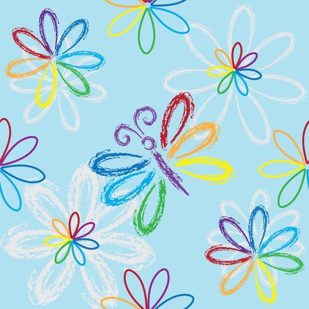 Seamless rainbow floral pattern with butterfly