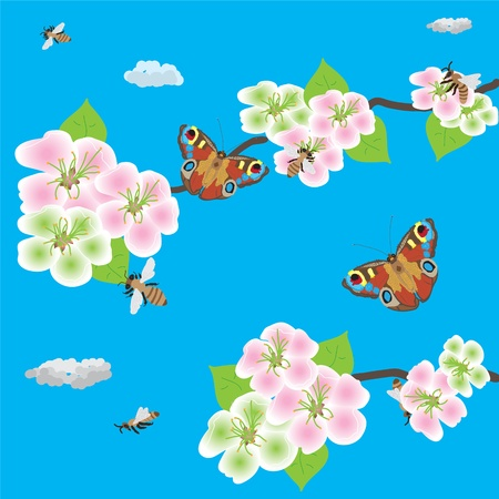 Spring blossom of apple branch with bees and butterflies Stock Vector - 9428204