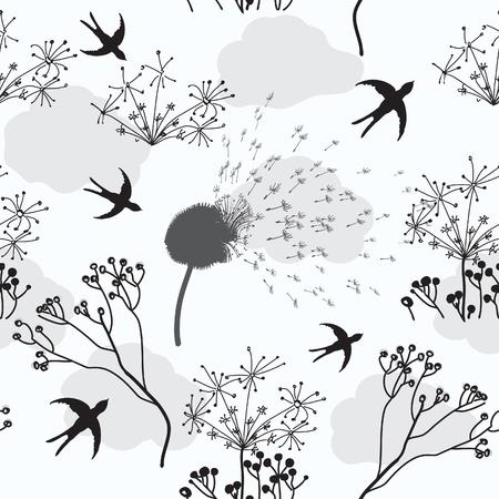 golondrina: Patr�n transparente con flores secas, golondrina y nubes Vectores