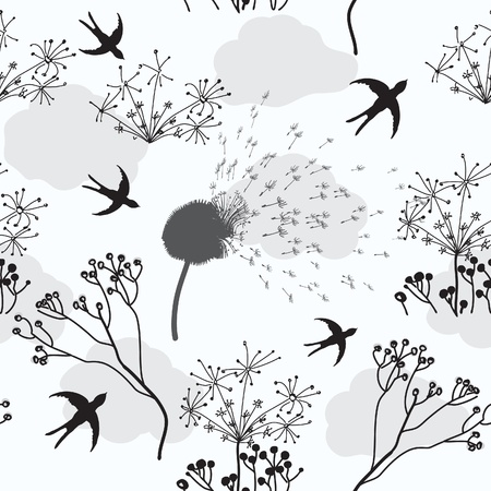 withering: Seamless pattern with dry flowers, swallow and clouds