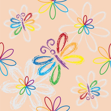Seamless colorful pattern with butterflies on pink background Illustration