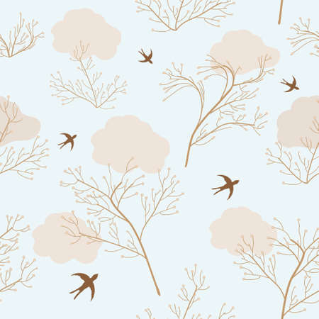 withering: Seamless pattern with dry flowers and swallows on blue background Illustration