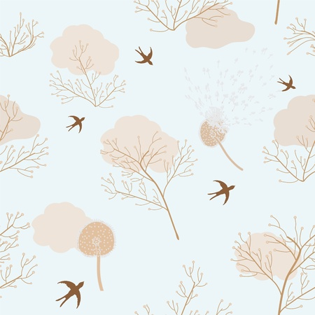 Dry dandelions, flowers and swallows in seamless pattern Stock Vector - 9438358