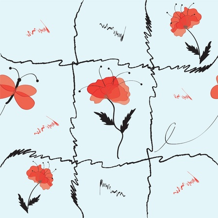 Seamless pattern with poppies and butterfly Vector