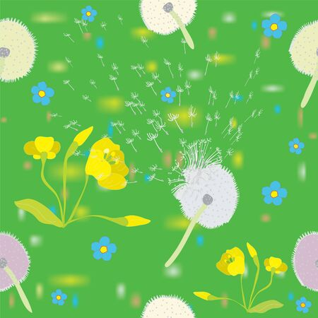 Seamless floral pattern with cartoon lawn Stock Vector - 9438370