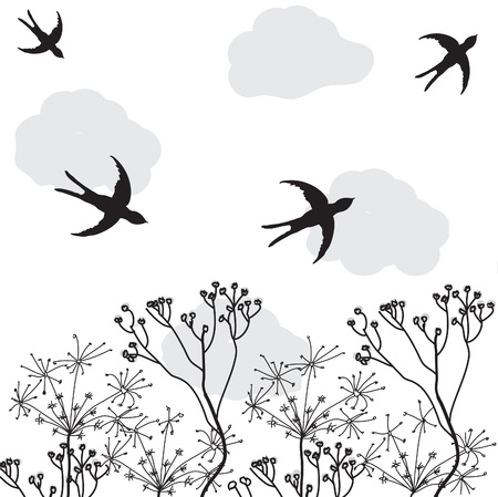 withered flowers and swallows flying in the sky Stock Vector - 9438369