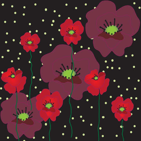 Black background with red poppies Vector