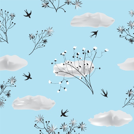 Seamless pattern with flowers and swallows on blue background Vector