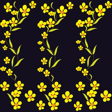 buttercups: Black background with yellow buttercups Illustration