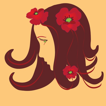 Girl stylized profile with poppies Vector