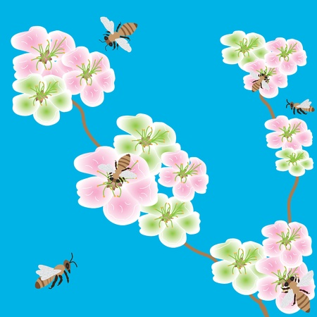 pollination: Spring flowers  with bees in the blue sky