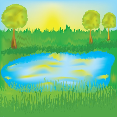 Landscape with lake, sunrise, meadow,trees Illustration