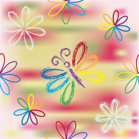 Seamless pattern with floral rainbow composition and butterfly Illustration