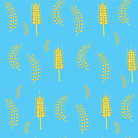 Seamless blue background with wheat Vector