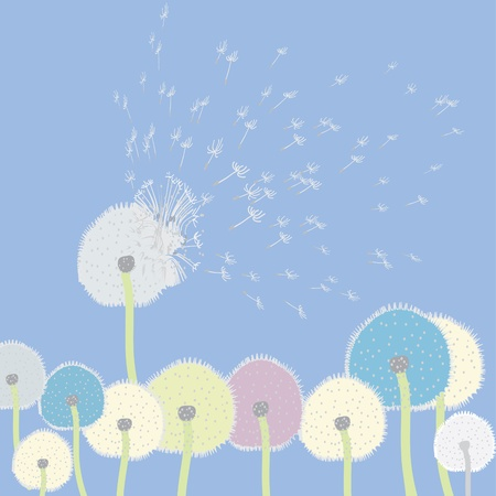 Abstract dandelions flying in the sky Illustration