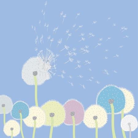 Pissenlits abstraites voler dans le ciel Banque d'images - 9496357
