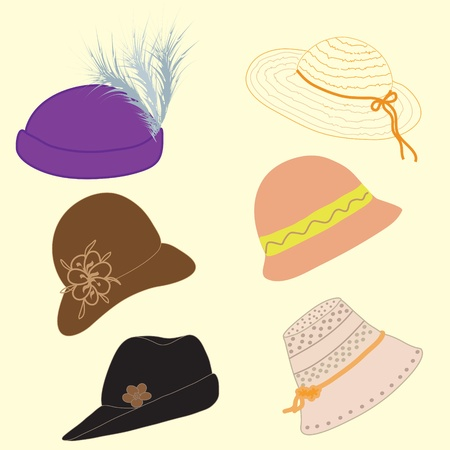 hat with feather: Set of woman hats Illustration