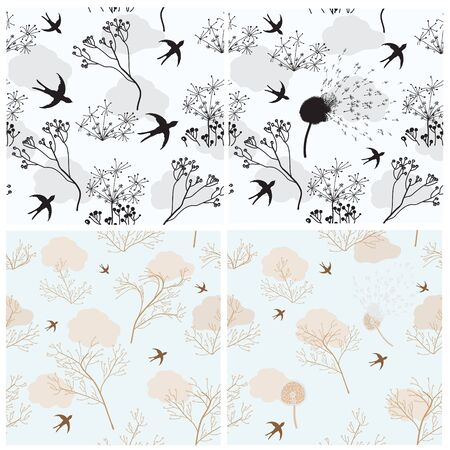Collection of four seamless patterns with birds and flowers Vector