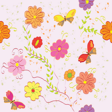 Seamless abstract floral pattern with butterfly Stock Vector - 9542428