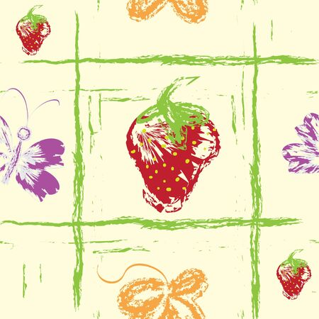 Seamless grunge pattern with strawberries, butterfly and leaf