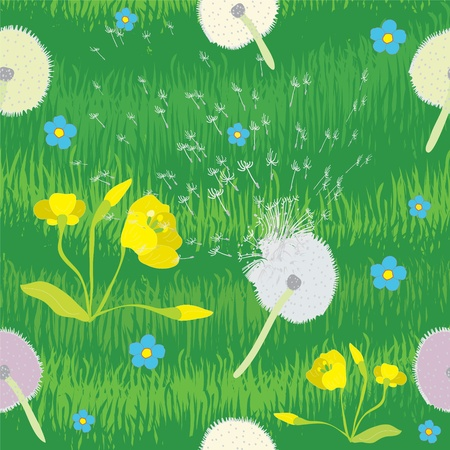 Seamless pattern with grass and cartoon flowers