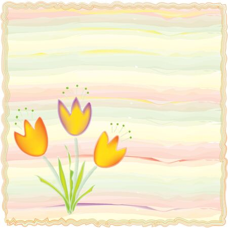 Invitation floral card on watercolor background Vector