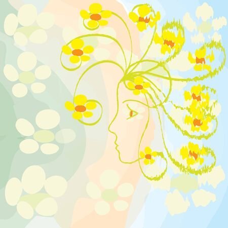 buttercups: Profile of girl with grunge buttercups on watercolour background