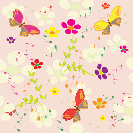 Floral colorful  seamless pattern with butterfly and splash Vector