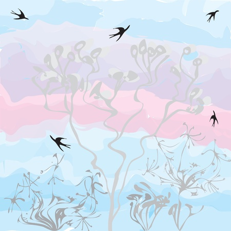 voilet: Grunge dry flowers and swallows on sunset vatercolor background