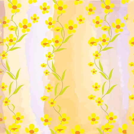 Seamless pattern with buttercups on watercolour background Vector