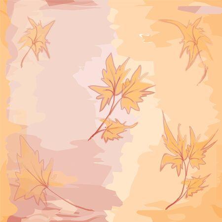 Seamless orange leaf grunge pattern Vector