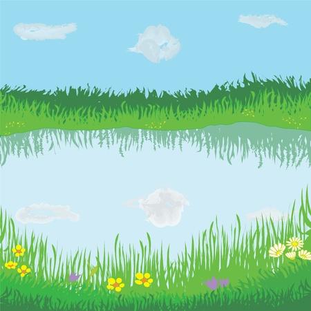 Paisaje con lago, Prado, flores, cielo y nubes Ilustración de vector