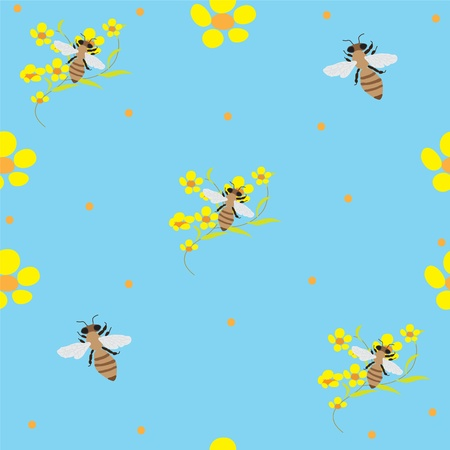 buttercups: Seamless background with bees and buttercups