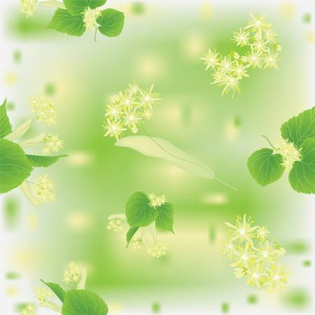 lindeboom: Naadloos patroon met bloeiende linden Stock Illustratie