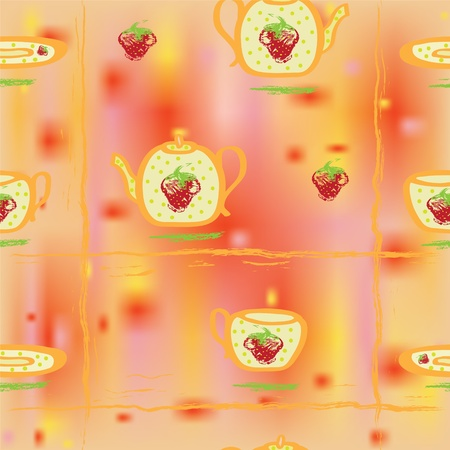 Seamless pattern with tea service and strawberry